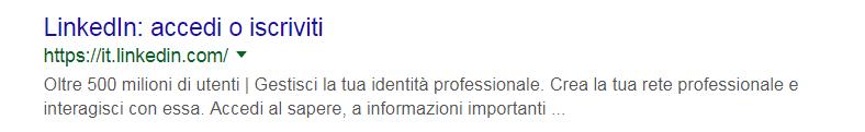 Come appare LinkedIn sui risultati di una ricerca su Google
